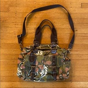 Pink, green, and brown patterned Fossil satchel